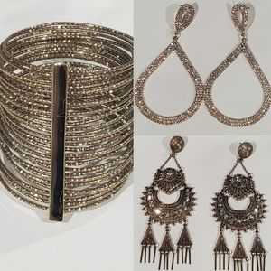 Gold Earrings and Bracelet Set - 3 pieces